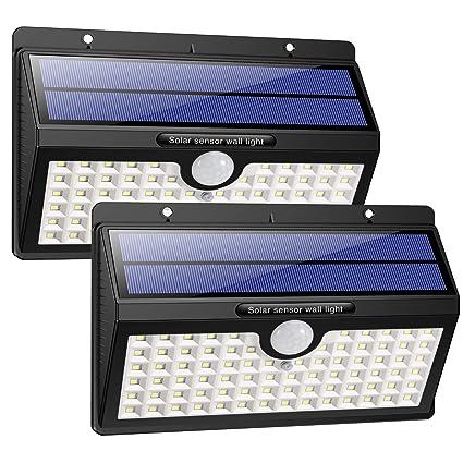 HETP Luz Solar/Foco Solar Exterior LED con Sensor de Movimiento 2000mAh Iluminación de Seguridad 2 Piezas Luces Solares/Lámpara Solar Exterior ...