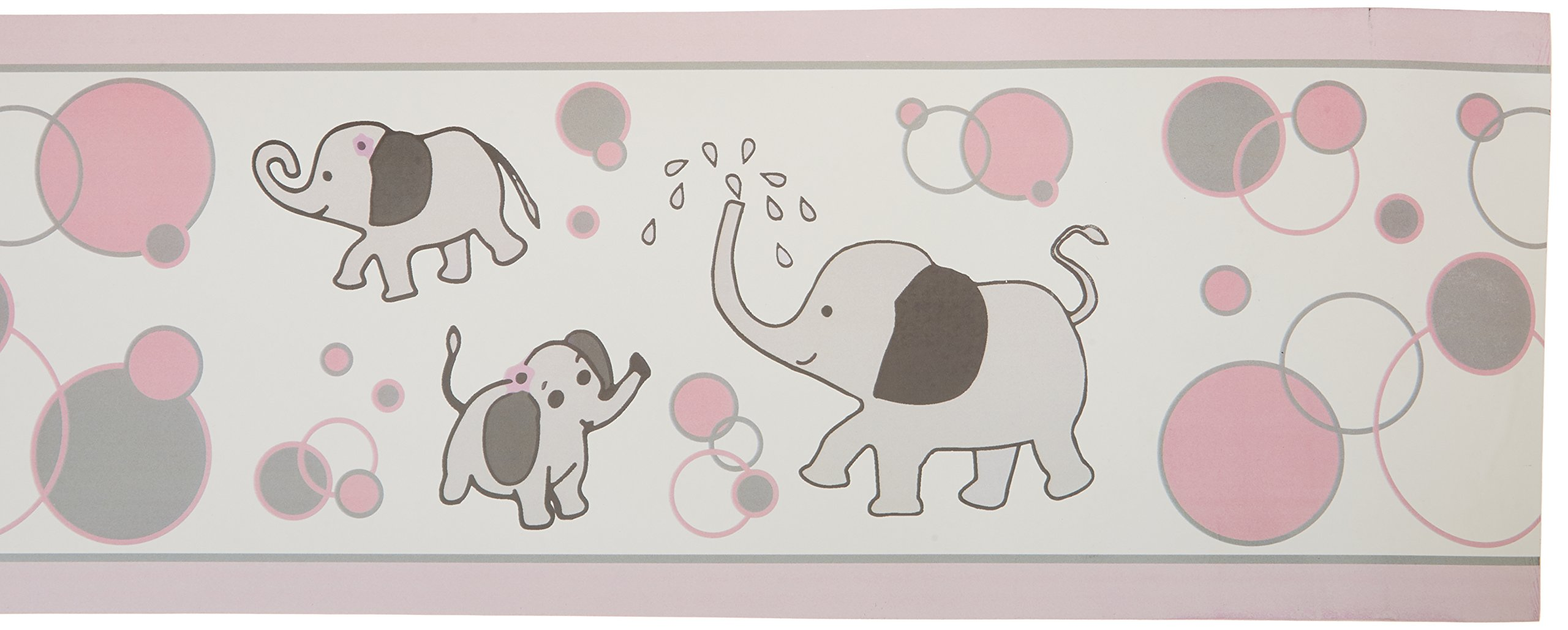 GEENNY Wall Border, Pink/Gray Elephant