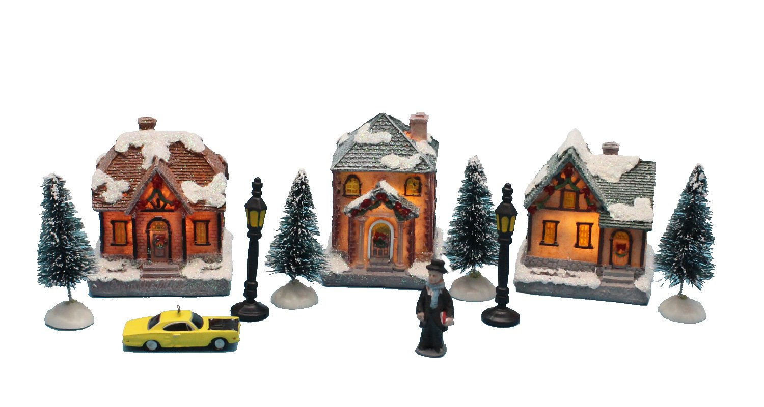 Lighting up Christmas Doll Figurine Tiny Resin House Village Building (Christmas House building set of 2) INNO