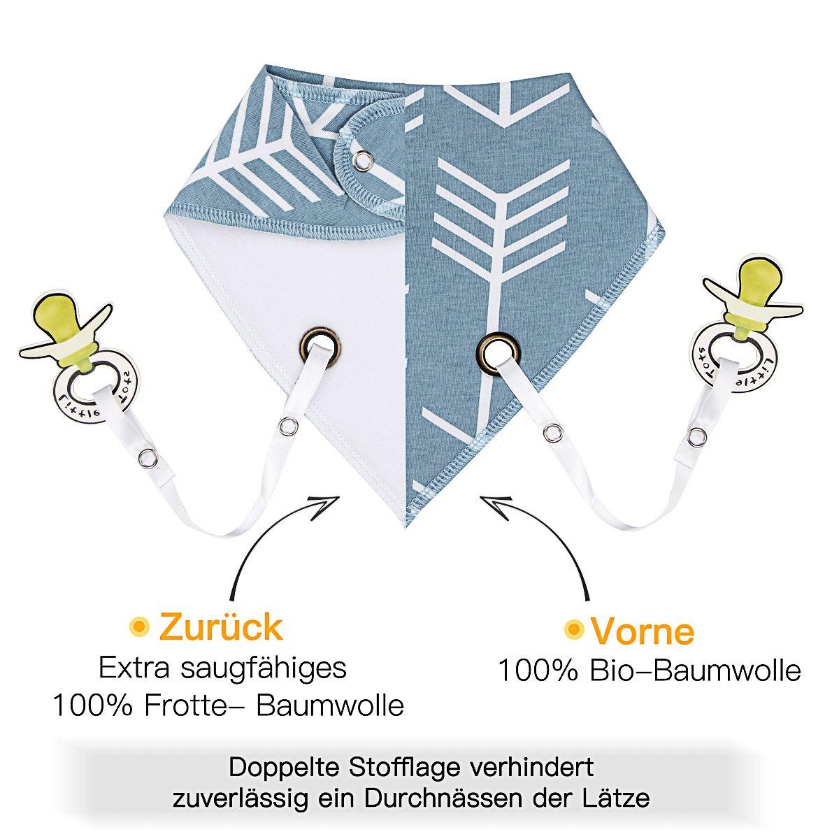 von Future Founder 4er Baby Dreieckstuch L/ätzchen Spucktuch Halst/ücher mit Schnullerkette und Verstellbaren Druckkn/öpfen Multifunctional Super Absorbent /& Soft Baumwoll