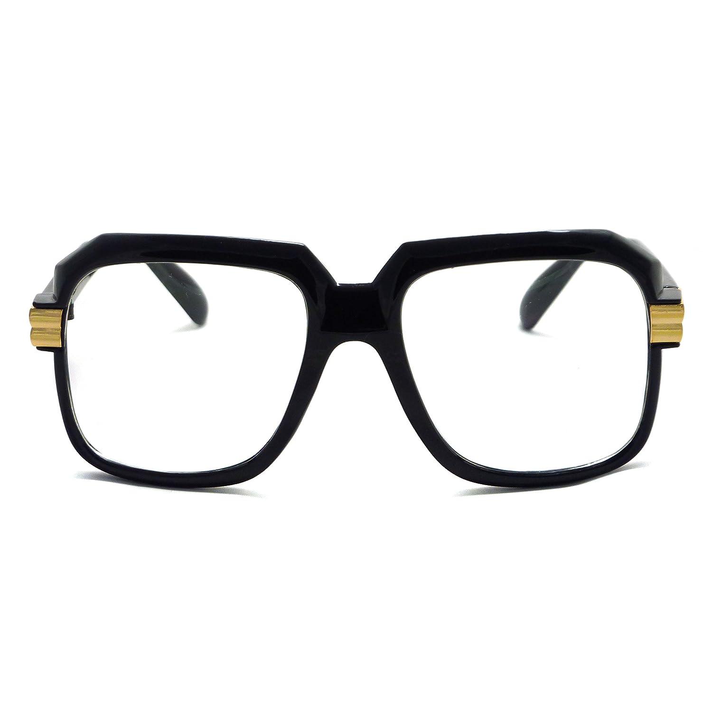 eaba09d3c3e9 Amazon.com  HIP Hop Rapper Retro Large Oversized Clear Lens Eye Glasses  (Black Gold)  Clothing