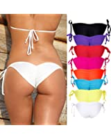 Fittoo Sexy V Cut Bikini Bottom Tie Sides For Women Cheeky Booty T-Back Ladies Swimsuit S M L XL