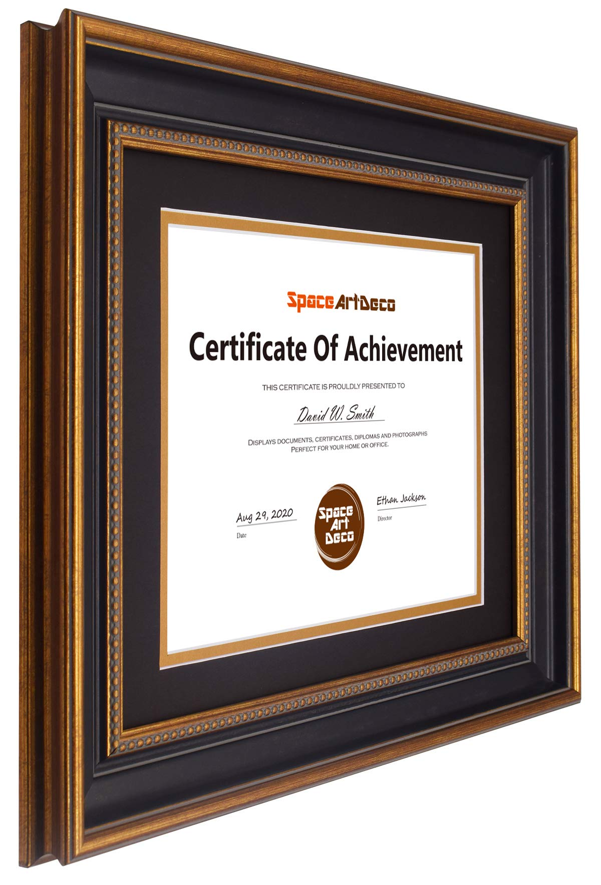 Space Art Deco, 11x14 Ornate Gold Diploma Frame - Black/Gold Double Mat for 8.5x11 Document - Wall Mounting - Sawtooth Hangers - for Graduation, Commencement, Acknowledgements, Degrees by Space Art Deco (Image #2)