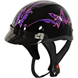 Outlaw T-70 Purple Butterfly Glossy Motorcycle Half Helmet - Small