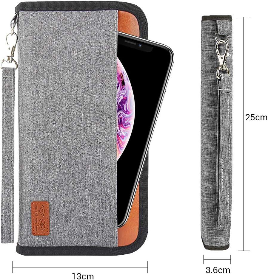 Hocaies Portefeuille Passeport Portefeuille de Voyage Familial avec Blocage RFID Porte Passeport pour Carte dIdentit/é Carte de Cr/édit y Billets davion. Bleu