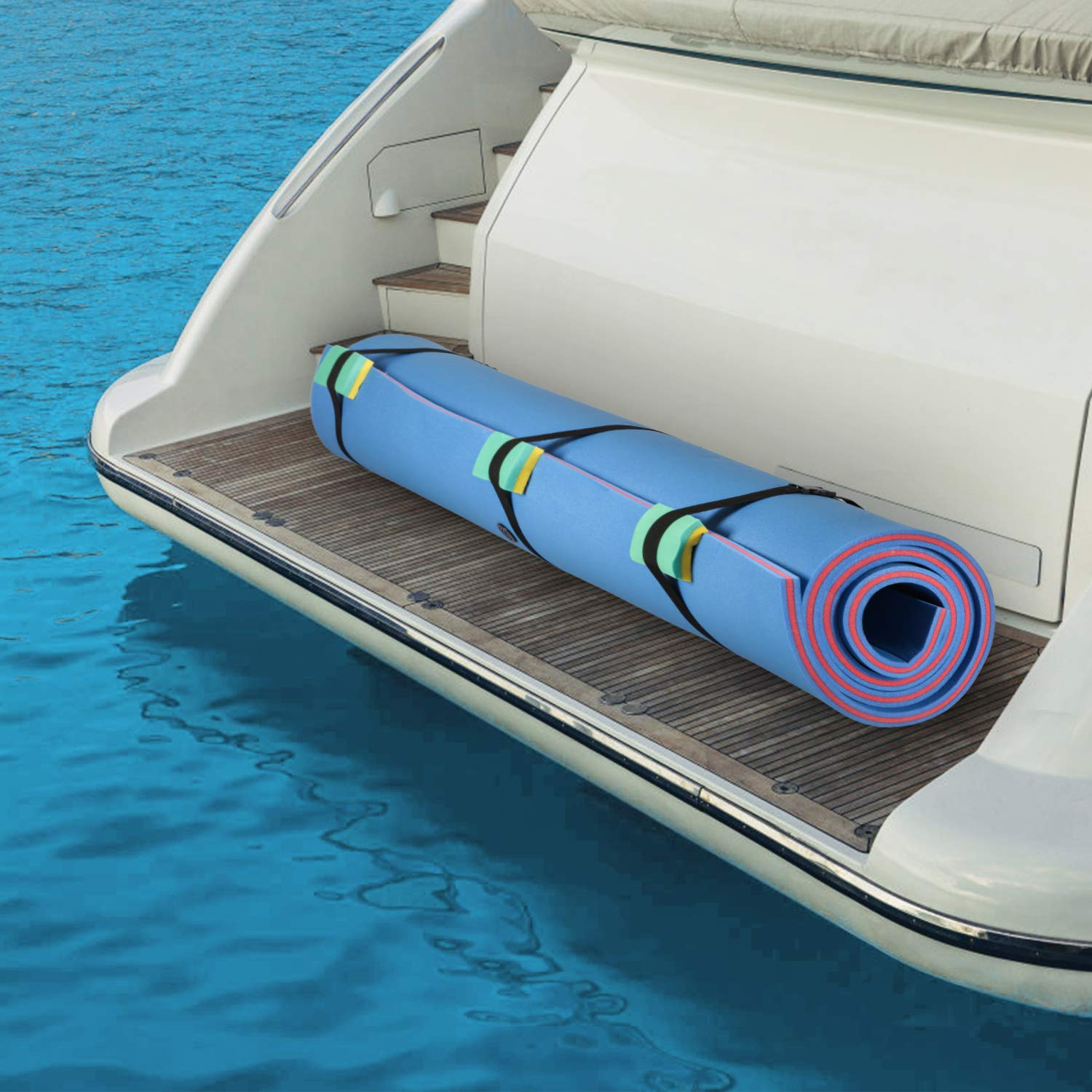 Superday Floating Water Mat Recreation Foam Pad Adults Kids Relax On Pool Lake&Ocean 9' x 6, Blue by Superday (Image #4)