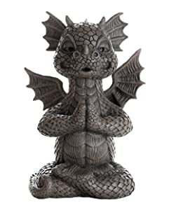 Pacific Giftware Garden Dragon Meditating Yoga Dragon Garden Display Decorative Accent Sculpture Stone Finish 10 Inch Tall