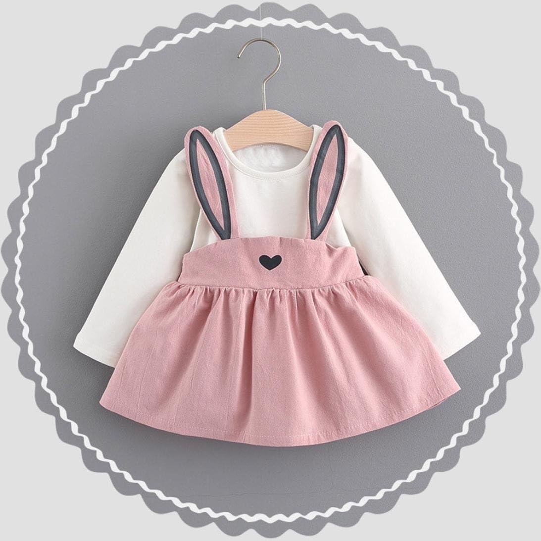 Celendi 0-3 Years Old Spring Cute Rabbit Bandage Suit Mini Dress for Baby Girl
