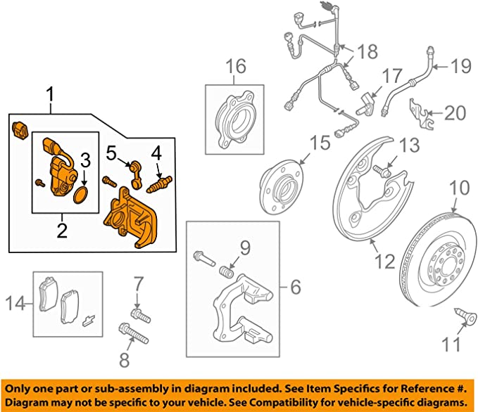 Amazon.com: Audi A4 B8 NS Left Rear Electric Brake Caliper: Automotive | Audi Brakes Diagram |  | Amazon.com