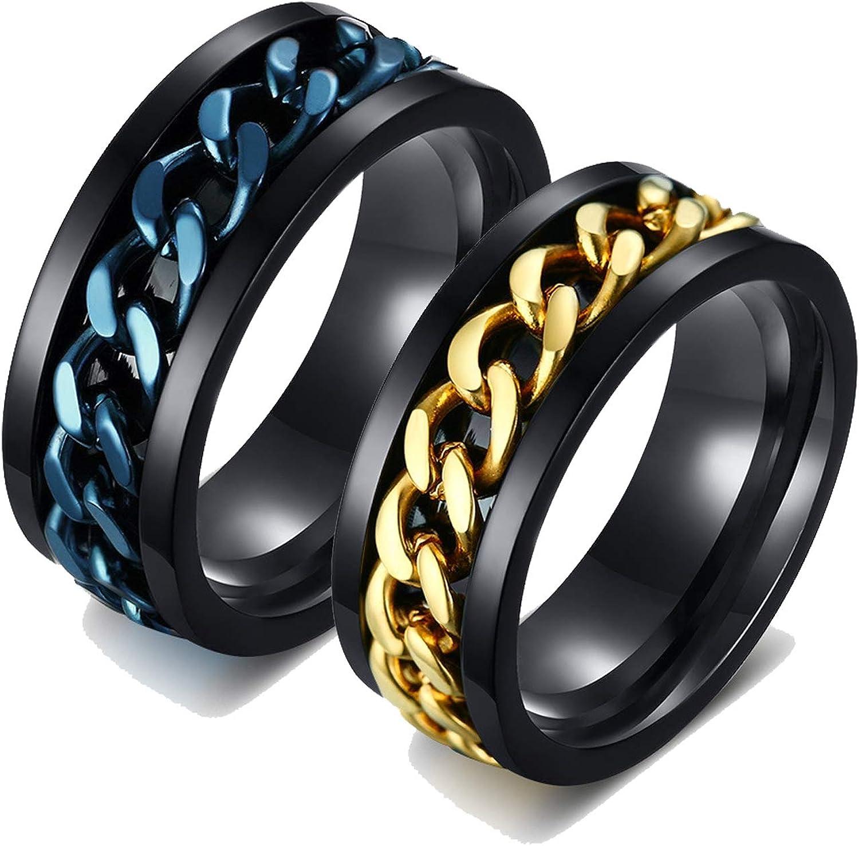 AnazoZ 2PCS Anillos Pareja Love Anillos Acero Inoxidable Parejas Oro Azul Negro Anillo Cadena Spinner Redondo 8MM