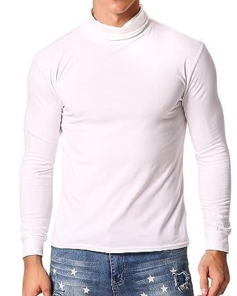 6ea52e34eafcd MODCHOK Homme T-Shirt à Manches Longues Top Tee Pull Col Roulé Haut Slim Fit