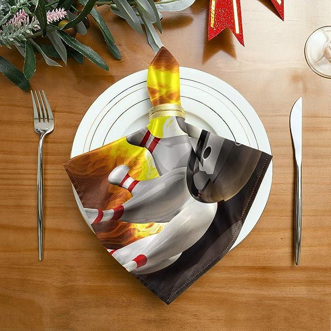 Servilleta Paño Cena Resumen Bola de boliche chocando con los alfileres en Fi Servilletas de colores para fiestas 20 X 20 pulgadas para cenas familiares, bodas, cócteles, vajilla de cocina Decoració: Amazon.es: