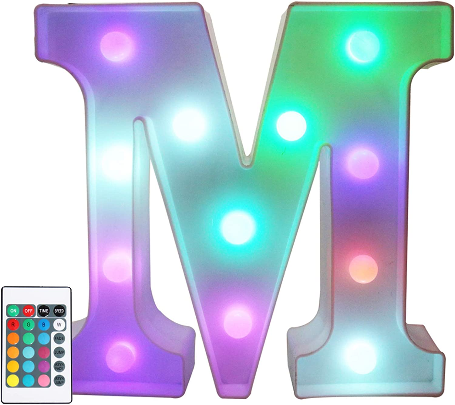 Colorful LED Marquee Letter Lights with Remote – Color Changeable Light Up Alphabet Signs – Party Bar Letters with Lights Decorations for The Home - Multicolor M