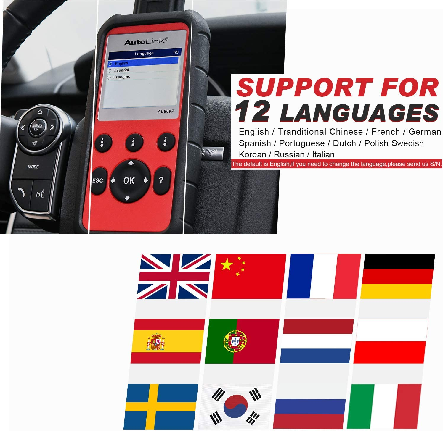 Universal Code Reader Supports All 10 Modes of OBD II Testing Enhanced OBD II Mode 6 Autel MaxiLink ML519 OBD2 Car Diagnostic Scanner