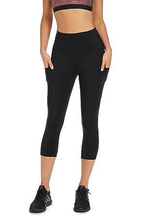 96b7b73e8adb0 Olacia Womens High Waisted Yoga Pants Workout Leggings Athletic Capris 4-Way  Stretch Tummy Control