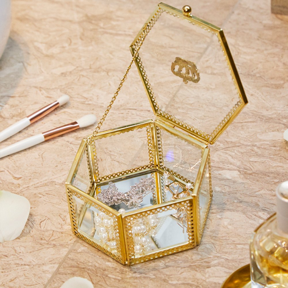 PuTwo Handmade Brass Edge Vintage Organizer Jewelry Box for Girls Makeup Vanity Decoration, Retro-Styled Mirrored Glass Hexagonal Trinket Planter