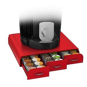 Mind Reader 36 Capacity K-Cup, Dolce Gusto, CBTL, Verismo, Single Serve Coffee Pod Holder Drawer, Red