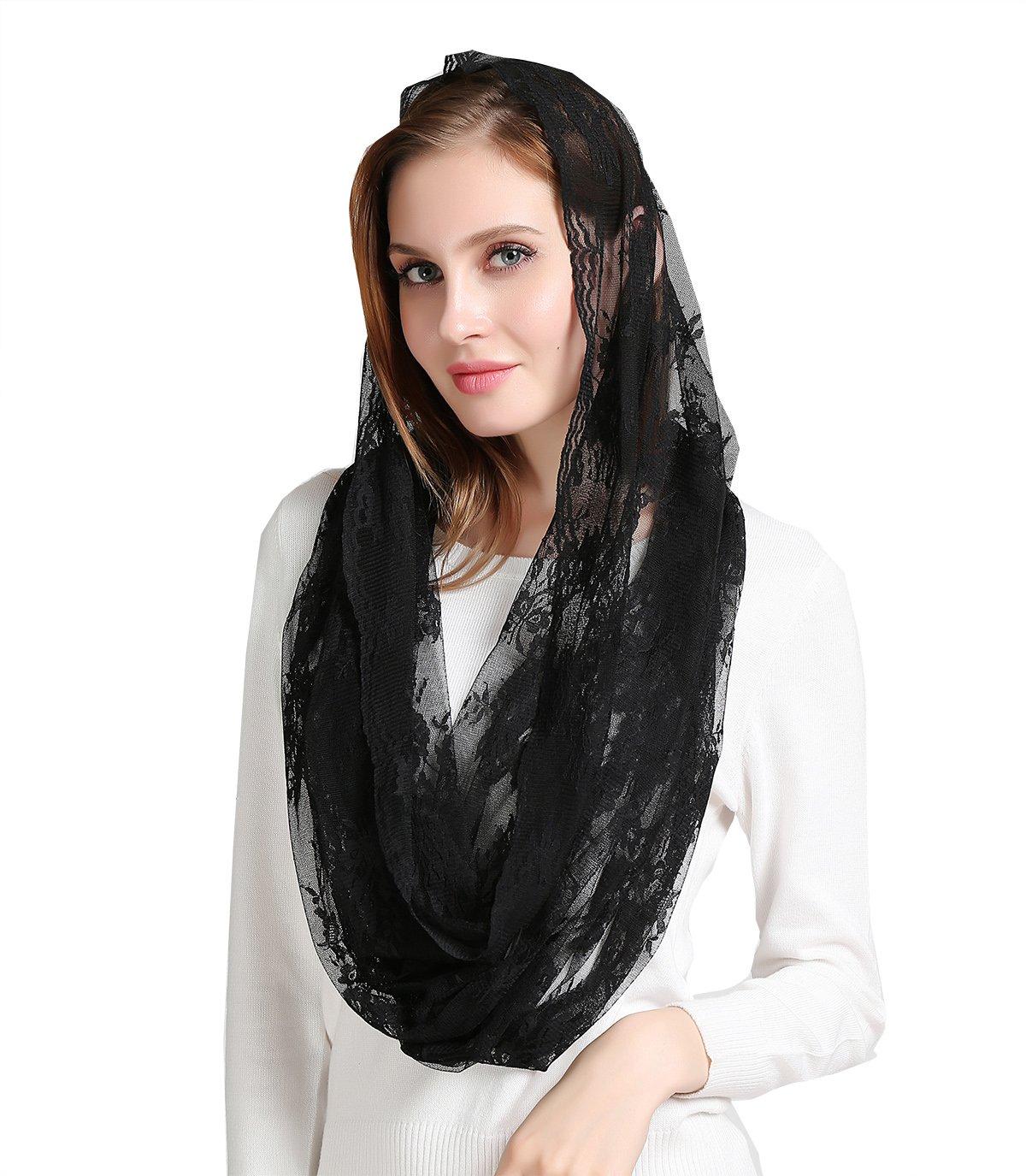 Lemandy Catholic chapel veil infinity scarf mantilla floral black lace veil v42 (Wrap)