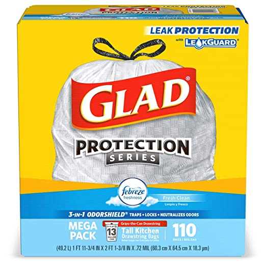 Glad Tall Kitchen Drawstring Trash Bags - OdorShield 13 Gallon White Trash Bag, Febreze Fresh Clean - 110 Count (Packaging May Vary)