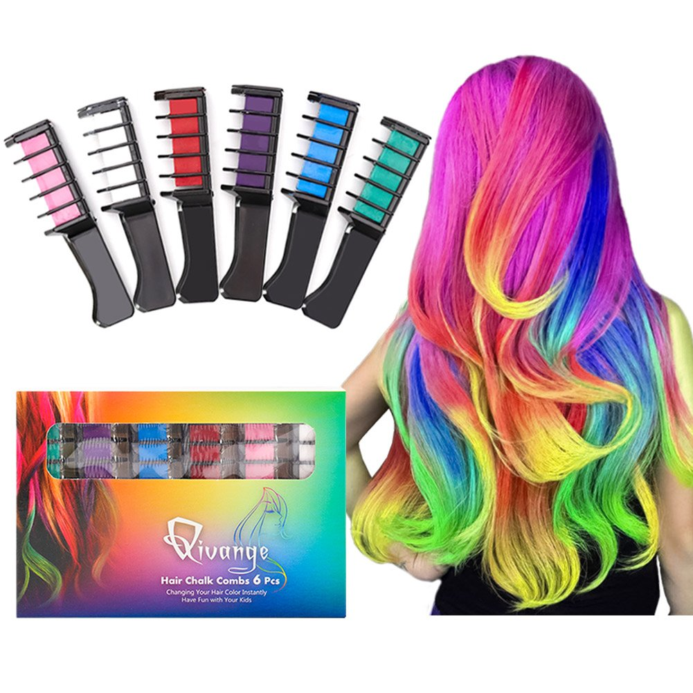 Qivange Hair Chalk Comb, 6 Pcs Non-Toxic Washable Temporary Hair Coloring for Kids, Ideal Christmas Birthday Party Children's Day Kids Toys