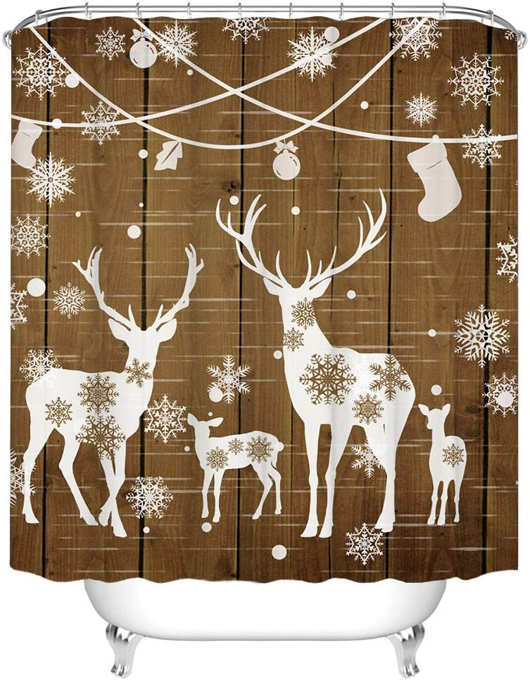 Rustic Shower Curtain Christmas Theme Deer Family Under Tree Snow Design Decorative Bathroom Curtains Vintage Cabin Farmhouse Decor Waterproof Polyester Fabric 72x72 Inches