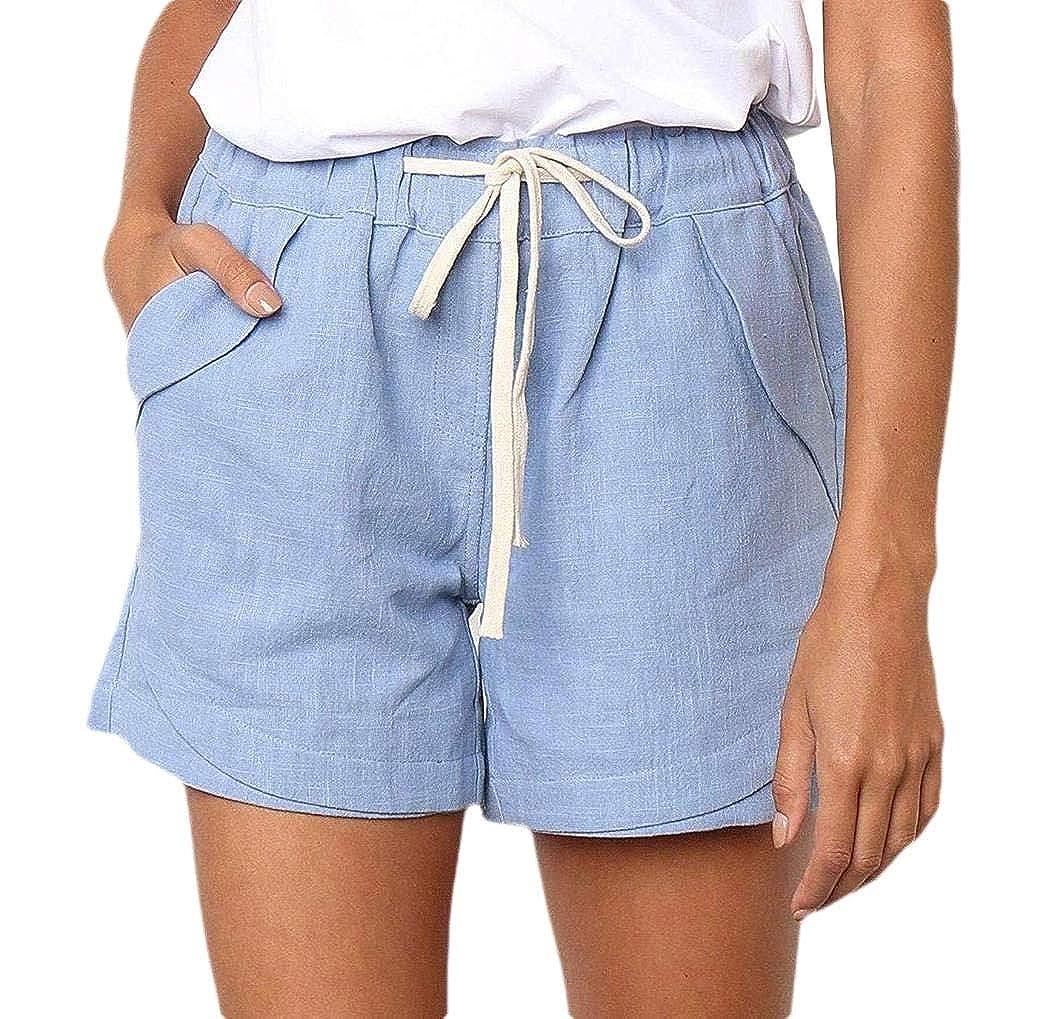 Coolred-Women Beach Baggy Skinny Pocket Trim Linen Shorts Pants