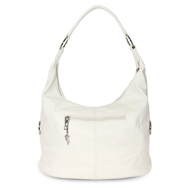 d2603109d42ac DrachenLeder Beuteltasche weiß Kunstleder Hobo Bag Damen Schultertasche  Jennifer Jones OTJ124W  Amazon.de  Schuhe   Handtaschen