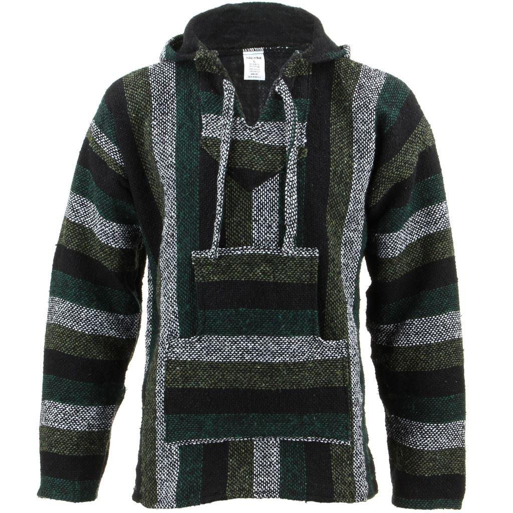 TALLA XL. Siesta Mexicano Baja Jerga con capucha hippie jersey - Minty verde
