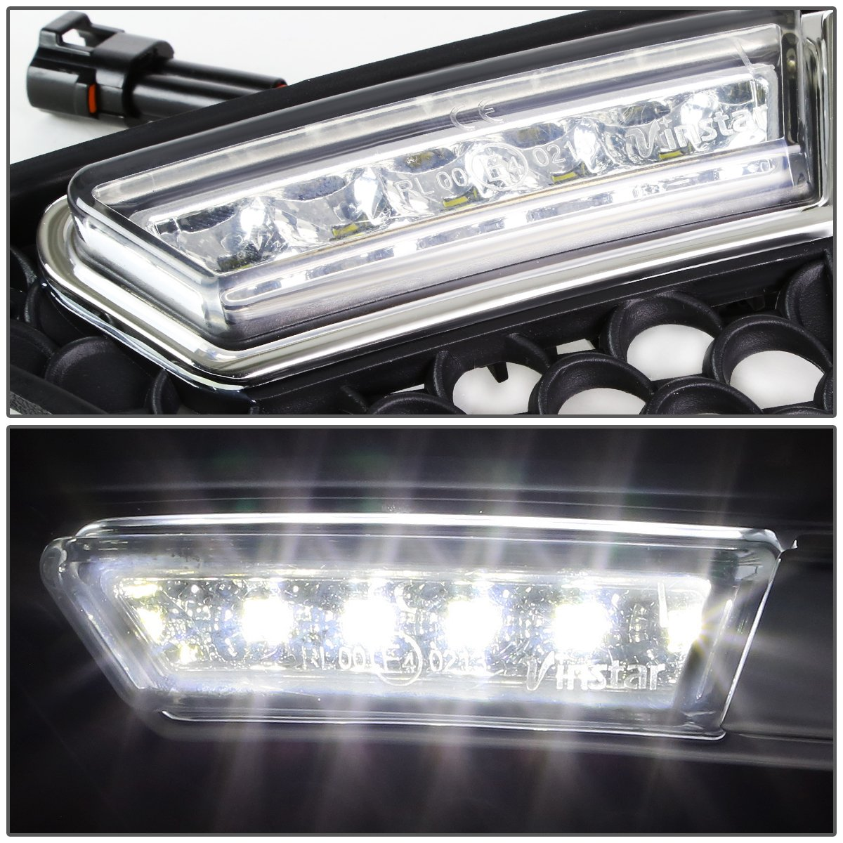 For Mercedes-Benz W204 C-Class Pair of Front Bumper Fog Light Bezel Integrated Day Time Running Lights