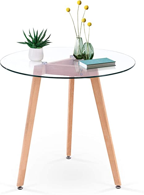 Amazon Com Ivinta Modern Small Dining Table Round Glass Coffee Table Farmhouse Kitchen Table For Small Spaces Accent Table Sofa Table Small Bistro Table Leisure Tea For Dining Room Living Room 31 5