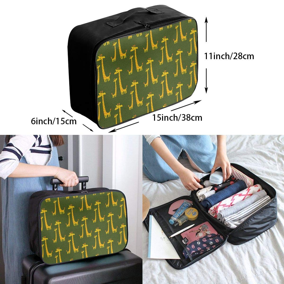 Cartoon Giraffe Travel Duffel Bag Waterproof Fashion Lightweight Large Capacity Portable Luggage Bag