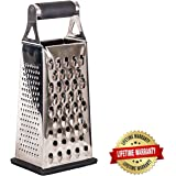 Best Cheese Grater, 4 Sided Stainless Steel Hand Held Box, Pro Quality, Microplane, Lemon Zester, Vegetable, Ginger, Parmesan, Chocolate, Nutmeg, Removable Base, Easy To Clean