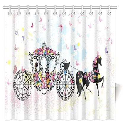 Vintage Floral Shower Curtain Set Carriage Black Horse Colorful Flowers Fairy Butterfly Cinderella Bath