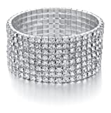 Amazon Price History for:Bridal Rhinestone Bracelet Stretch Silver Tone - Ideal for Wedding, Prom, Party or Pageant