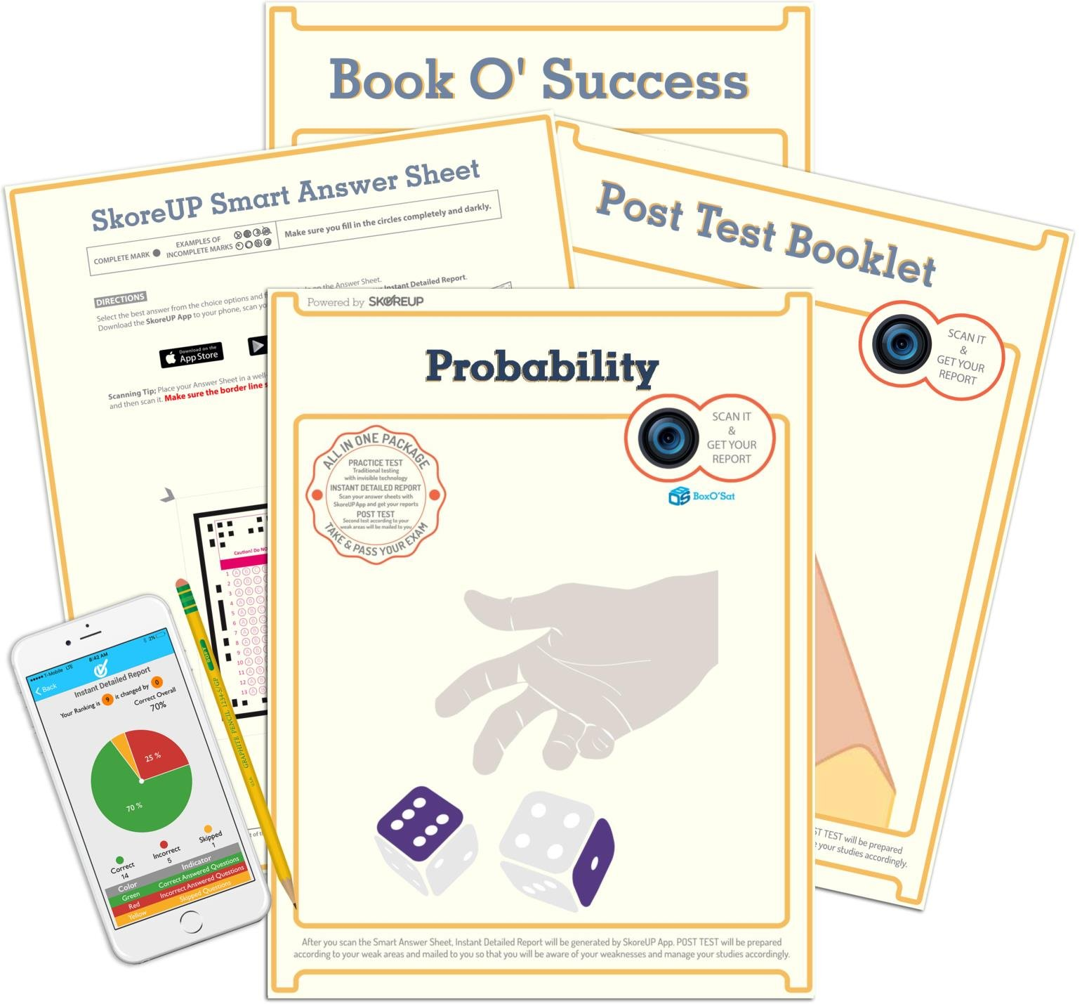 BoxO'Sat Probability Test, SAT Math Practice Exam Package