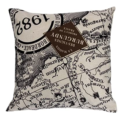 Amazon.com: Fxbar 1982 Ancient Map Pillow Case Sofa Waist ...