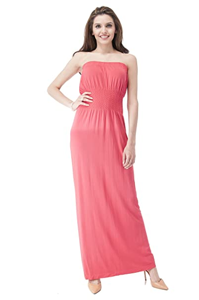a6e3eb268d01 Women's Sleeveless Tube top Smocked Seamless Maxi Dress (Small/Medium, Coral)  at Amazon Women's Clothing store: