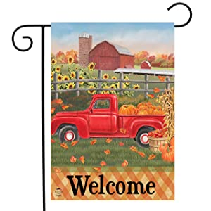 "Briarwood Lane Fall Farm Welcome Garden Flag Pickup Truck Barn Floral 12.5""x18"""