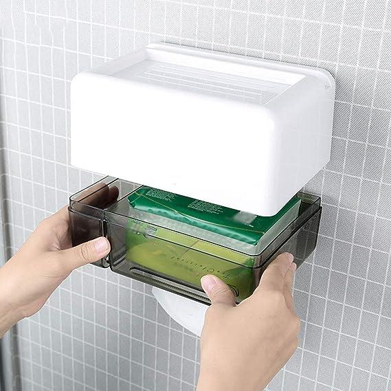 Japonés Creativo montado en la Pared Caja de pañuelos de baño plástico Impermeable Rollo de Papel higiénico Soporte de Papel Estante de Almacenamiento: ...