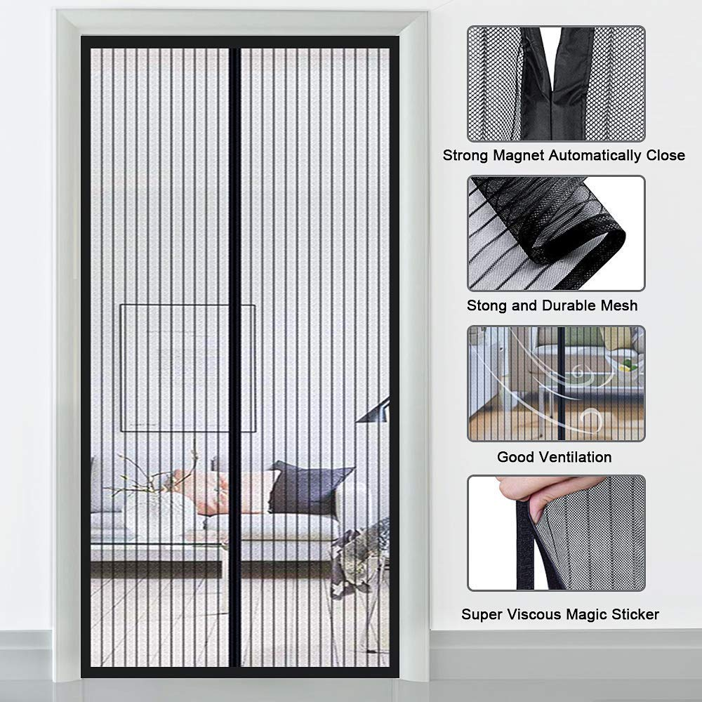 Mosquitera Puerta Negro 70x190cm 28x75inch Mosquitera Ventana Cierre Magn/éTico Que Se Cierra Autom/áTicamente para Puertas Correderas//Balcones//Terraza