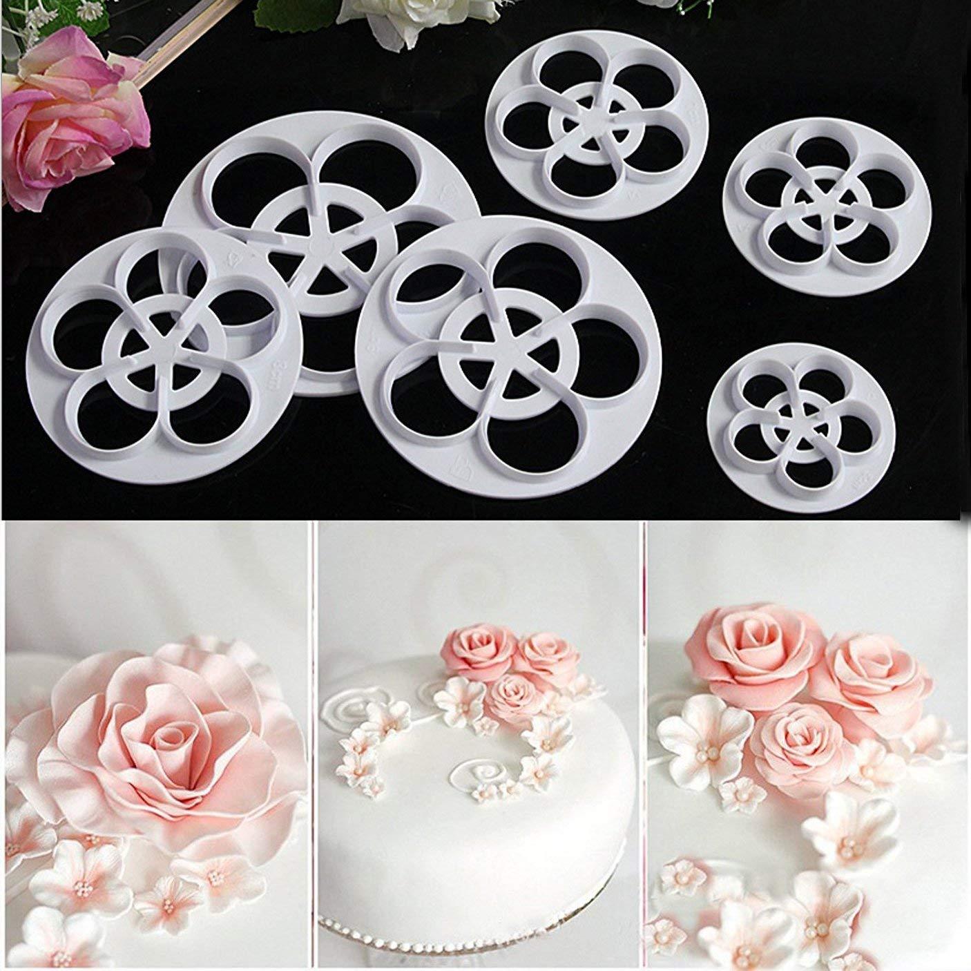 OFKPO 6pcs Rose Ever cutter//cake Decorating Stampo per biscotti fondente Bianco
