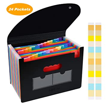 Carpeta Clasificadora Archivador acordeón 24 Bolsillos de gran Capacidad soporte Extensible portátil acordeón, Multi-Color Archivador A4 buen ayudante ...