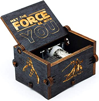 Caja de música de Star Wars de madera negra, caja de madera ...