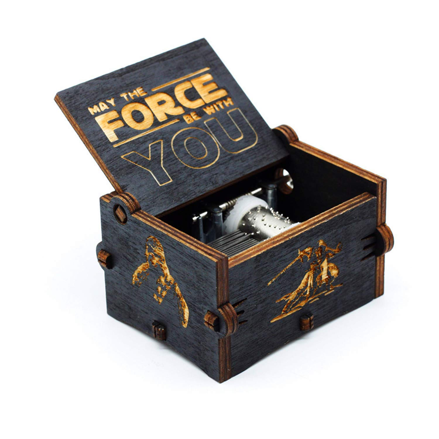 Black Wood Star Wars Music Box, Antique Carved Hand Cranked Wooden Musical Boxes Home Decoration Crafts for Children Gifts HLZK