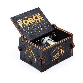 Caja de música de Star Wars de madera negra, caja de madera tallada a mano de madera tallada antigua artesanía de decoración del hogar para niños regalos: ...
