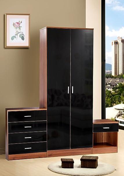 vibrante Globe noce nero lucido mobili per camera da letto 3 pezzi ...
