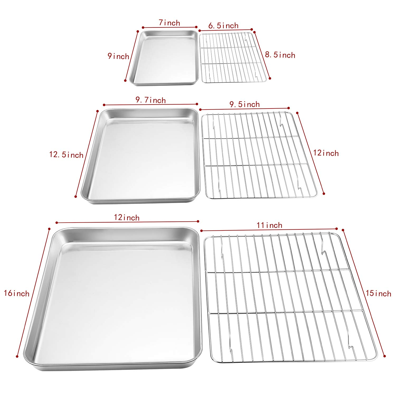 P&P CHEF Baking Sheet and Rack Set, 6 PACK (3 Sheets + 3 Racks), Stainless Steel Baking Cookie Sheets Pans with Cooling Rack for Baking and Roasting, Oven & Dishwasher Safe by P&P CHEF (Image #7)