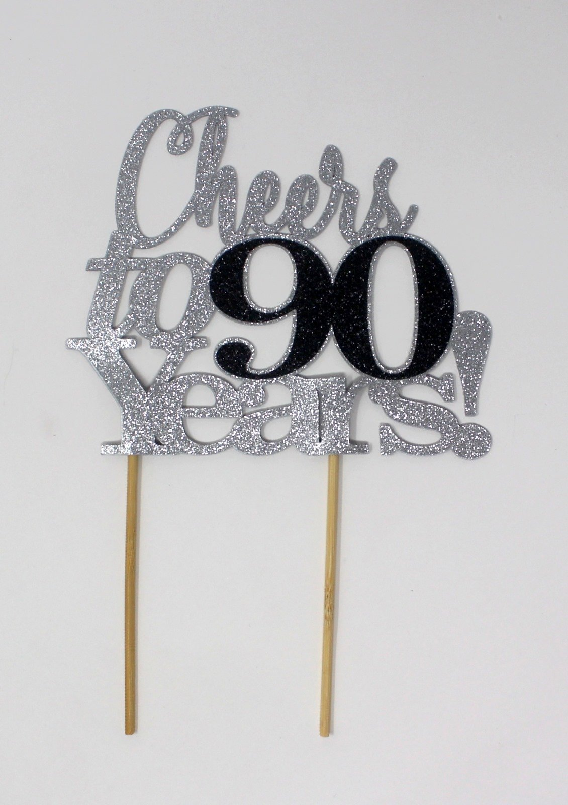 All About Details Cheers to 90 Years! Cake Topper,1pc, Birthday, Anniversary, Party Decor, Glitter Topper (Silver & Black)