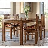 LifeEstyle Handcrafted Sheesham Wood Dining Set with 4 Chairs without Cushion (Honey Medium)