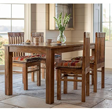 LifeEstyle Handcrafted Sheesham Wood Dining Set With 4 Chairs Without Cushion Honey Medium